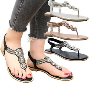Ladies-Womens-Flat-Diamante-Summer-Strap-Party-Comfy-Toe-Post-Sandals-Shoes-Size