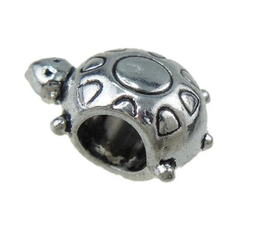 10 Animal Métal Perles Tortue Métal entre pièces bastelmaterial 15 mm j43