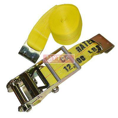 "(2 Pack) 4""X30' Ratchet Straps w/flat hook, WLL 5400 Trailer Tie Down"
