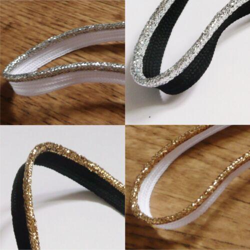 Argento e Oro Metallico Lurex Sul Nero o Bianco Flangiato Inserto Cordoncino