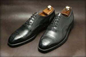 Homme-Fait-a-la-main-Chaussures-Richelieu-a-Derbies-en-cuir-noir-a-lacets-formel-robe-usure-Boot