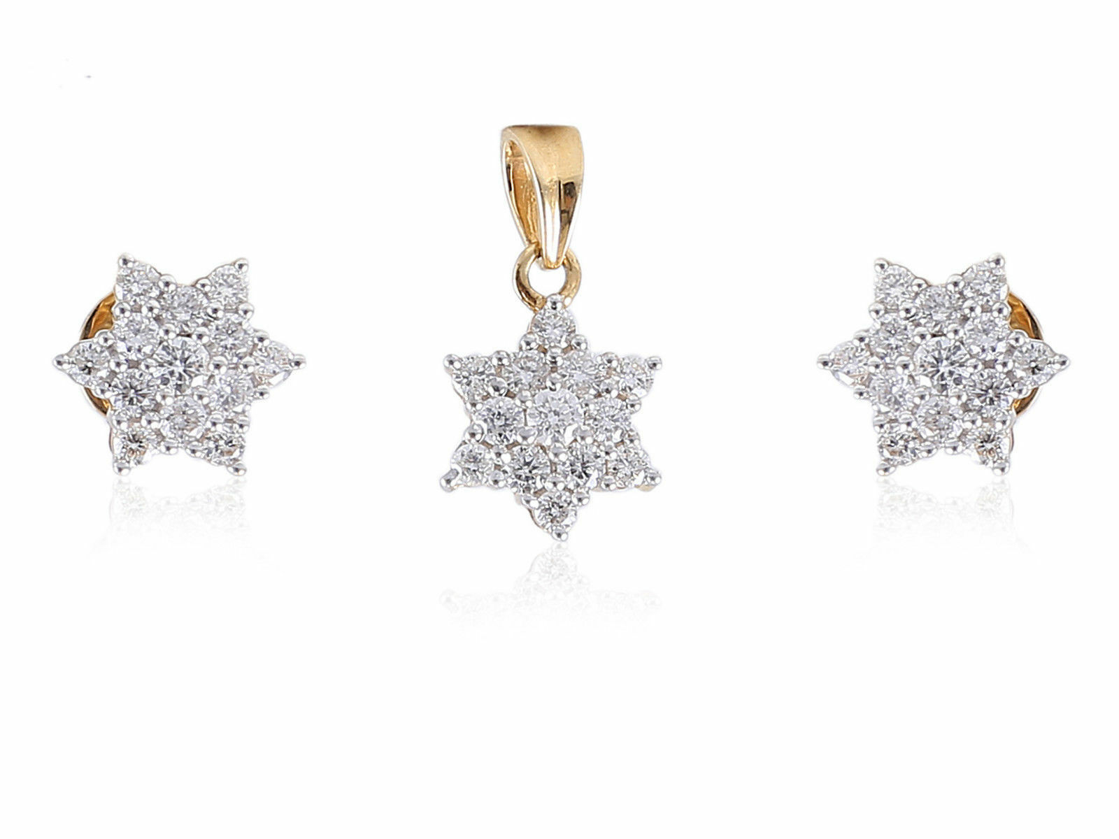 1.12 Cts Round Brilliant Cut Pave Diamonds Pendant Earrings Set In 18Karat gold