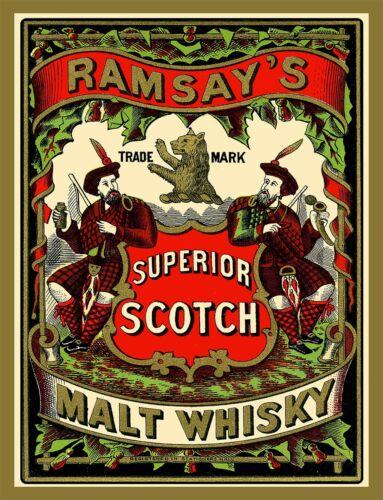 "TIN SIGN /""Ramsay/'s Superior Scotch Malt Whiskey/"" Alcohol Bar Vintage Ad"