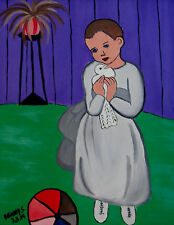 """Original Oil Painting """"GIRL WITH DOVE"""" Canvas 16"""" x 20"""" FRAMED (Picasso/Monet)"""