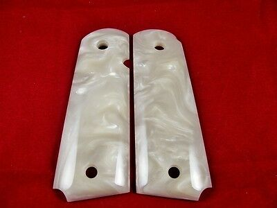 Gorgeous White Pearl Resin Grips For Colt 1911 1991 FULL SIZE Kimber Clones S/&W