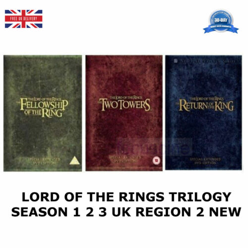 1 of 1 - LORD OF THE RINGS TRILOGY EXTENDED EDITION SEASONS 1 2 3 UK REGION 2 DVD