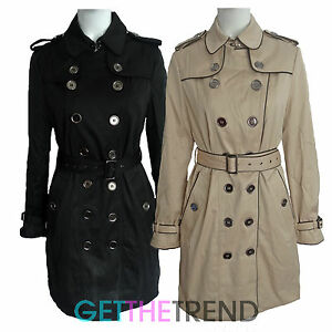 Womens-Long-Mac-Coat-Ladies-Sofy-Touch-Double-Button-Breasted-Belted-Jacket