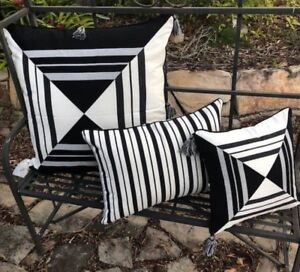 Image Is Loading Cushion Cover Black And White Geometric Stripe Tels