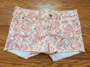 d1e123f8c7 Women's Gap 1969 Summer Cut-Offs Jean Shorts White w/ Coral Dot ...