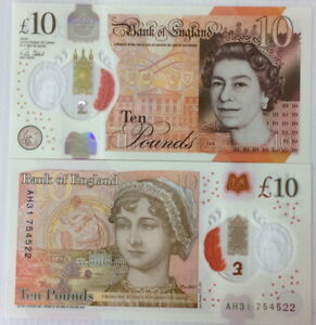 Great Britain 10 Pounds 2016 /2017 Polymer Signature Victoria P 395 a UNC
