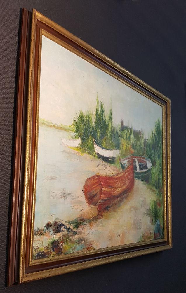 chaloupes ancien plupart strand. orig. ancien chaloupes impressionniste peinture à l'HUILE , 6f9d63