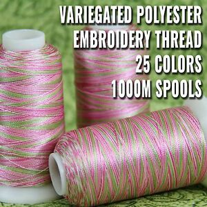 VARIEGATED-POLYESTER-EMBROIDERY-THREAD-1000M-SPOOLS-25-COLORS-40-WT-THREADART