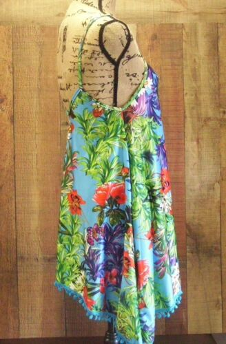 Teal Pom Pom Trim Tropical Floral Sleeveless Mini Boutique Summer Clearance