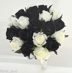 Image Is Loading Silk Wedding Bouquet Black White Cream Roses Pre