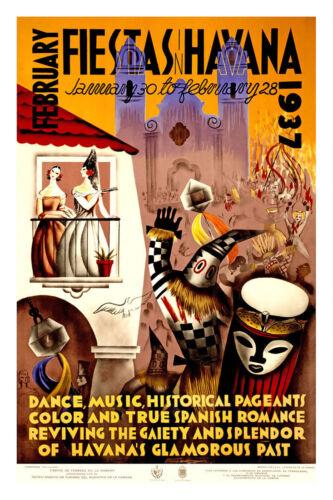 "Havana-1937-24/""x36/"" Art on Canvas Vintage Travel Art"