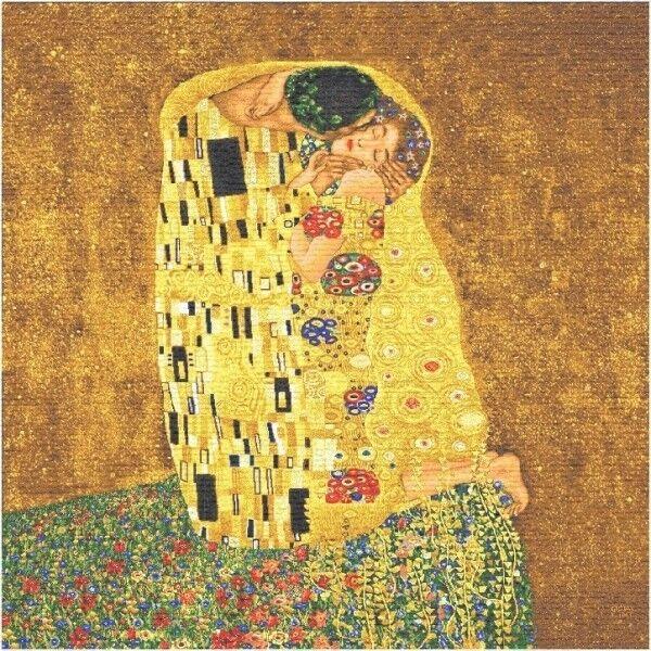 Dynamisch Gobelin Textil Bild Als Stoff Wandteppich Der Kuss Von Gustav Klimt 70x70 Cm Modernes Design