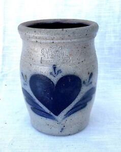 Vintage Rowe Pottery Works Blue Heart Crock, Salt Glaze  - 1985