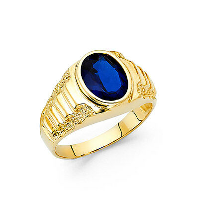 14k Yellow Gold Oval Shape Blue Stone Bezel Set Men's Ring Ribbed Ring