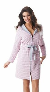 New Womens Short Zip Up Striped Hooded Bathrobe Dressing Gown ... 63e0bbe9b