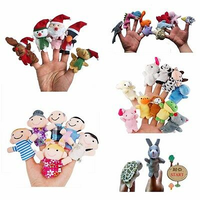 NEW Finger Puppets Plush Cloth Doll Baby Cartoon Family Hand Kid Animal Toy Gift