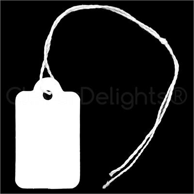 """String Display Hang Tag 100 Mini Price Tags White Jewelry Tags 3//4/"""" x 1//2/"""""""