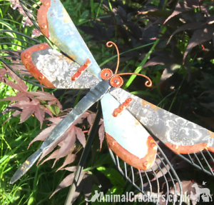 Grey-amp-Copper-painted-Metal-DRAGONFLY-STAKE-garden-ornament-decoration-sculpture