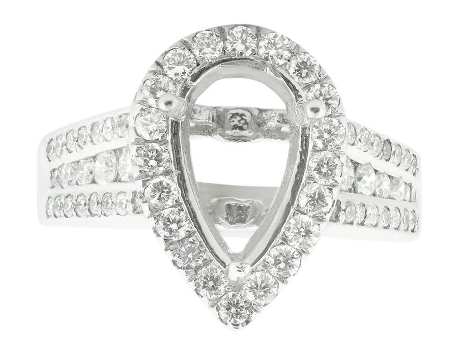1.15Ct Round Diamond Pear Shape Semi-Mount Halo Engagement Ring 14K gold