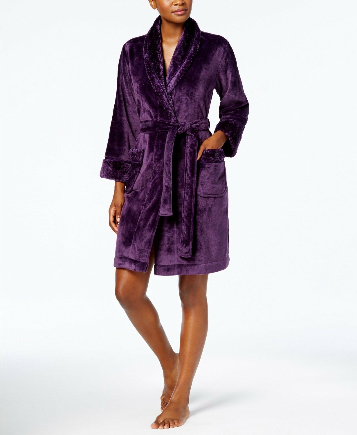 Charter Club Short Dimple Contrast Robe 171179M716 Size M Rich Concord