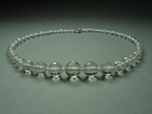Vintage-Czech-Bohemian-Clear-Crystal-Cut-Glass-Bead-necklace