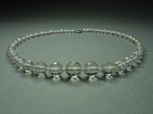 Vintage-Czech-Bohemian-Clear-Crystal-Cut-Glass-Bead-necklace