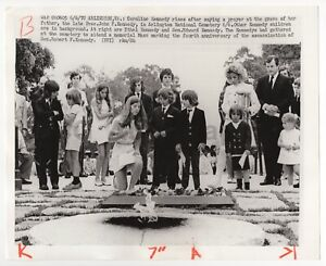 Caroline-and-Kennedy-Family-at-JFK-Grave-Vintage-Wire-Service-Photograph