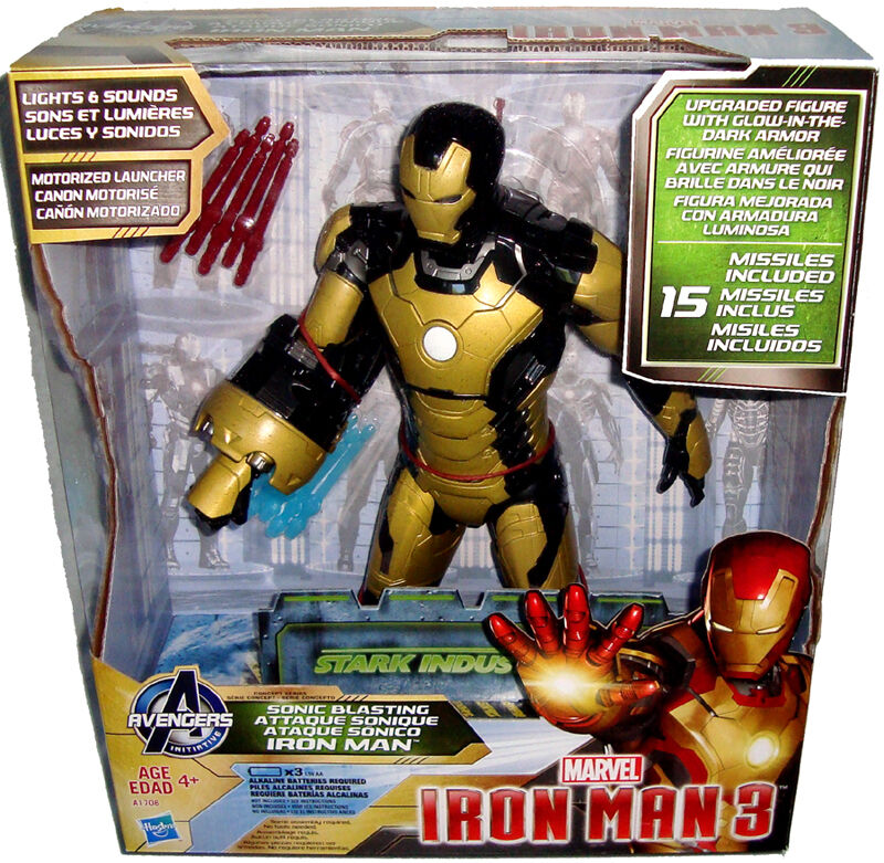 Iron Man 3 Motorized Sonic Blasting 12  Action Figure MIB Marvel Comics W  Sound