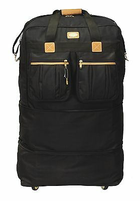 """40"""" Black Expandable Rolling Wheeled Duffel Bag Spinner Suitcase Duffle Luggage"""