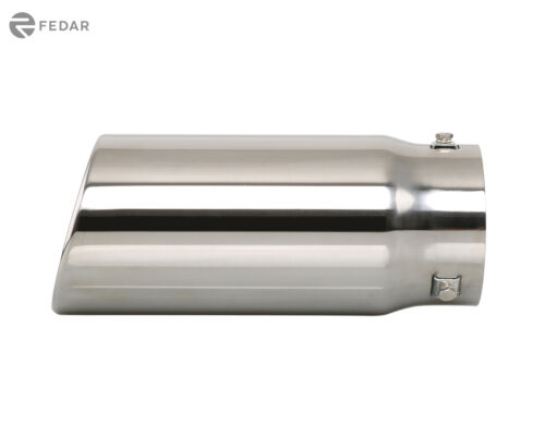 "Fedar Exhaust Tip 4/"" ID 4.5/"" OD 10.7/"" Long Dual Wall Rolled Angle Cut"