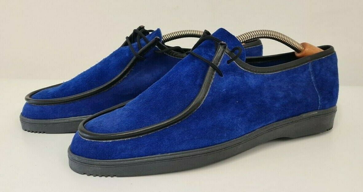 Vintage 1980's Mocci Blue Suede Casual Shoes New Without Tags Size 8 UK 42 EUR