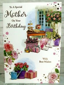 Special Mother On Your Birthday, Card With Garden Scene, Afternoon Tea & Cakes