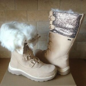 2a7491f967a Details about UGG Atlason Frill Cream Waterproof Leather Toscana Tall Snow  Boots Size 12 Women
