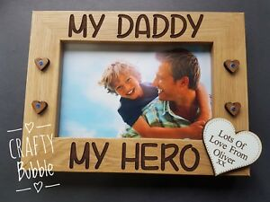 MY daddy MY hero engraved photo FRAME PERSONALISED GIFT father's day