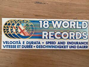 Adesivo Sticker Alfa Romeo 18 World Records  Originale Vintage Nuovo