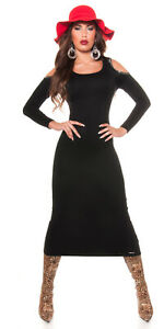 KOUCLA-Black-Ribbed-Bodycon-Midi-Jumper-Dress-with-Cold-Shoulder-Long-Sleeved
