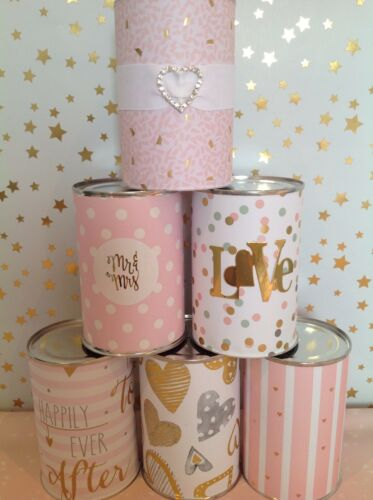 CHARMING JUST MARRIED WEDDING CAR TIN CAN DECORATIONS SET 6