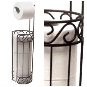 c445992ac0d809 Free Standing Toilet Paper Tissue Roll Holder Bronze Stand Bathroom ...