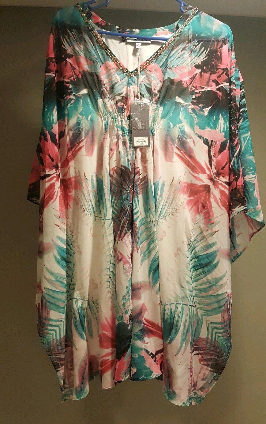 NEW  70 Jennifer Lopez Women's Embellished Caftan Dress  Miami Palm Size Large