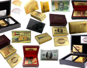 Gold-Plated-Playing-Cards-Poker-Deck-Wooden-Box-amp-99-9-Certificate-24k-Foil