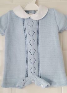 4ace2194b378 Spanish Style Baby Boy Blue Knitted Romper   Outfit.