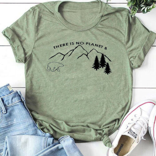 Women There Is No Planet B Environmental Protection Blouse Casual Print T-Shirt