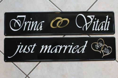 KFZ matrícula bodas letreros just Married con corazones en escudo negro