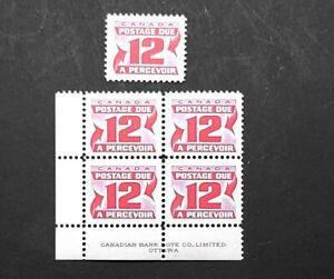 1969 Canada Postage Due Single & Plate/Inscription Block J36! Mint MNH! BV $7