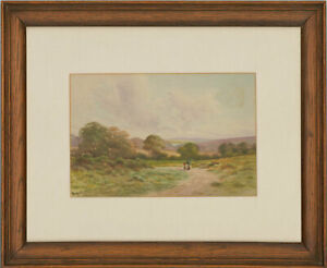 George-Oyston-1861-1937-Signed-1923-Watercolour-Walk-in-the-Countryside