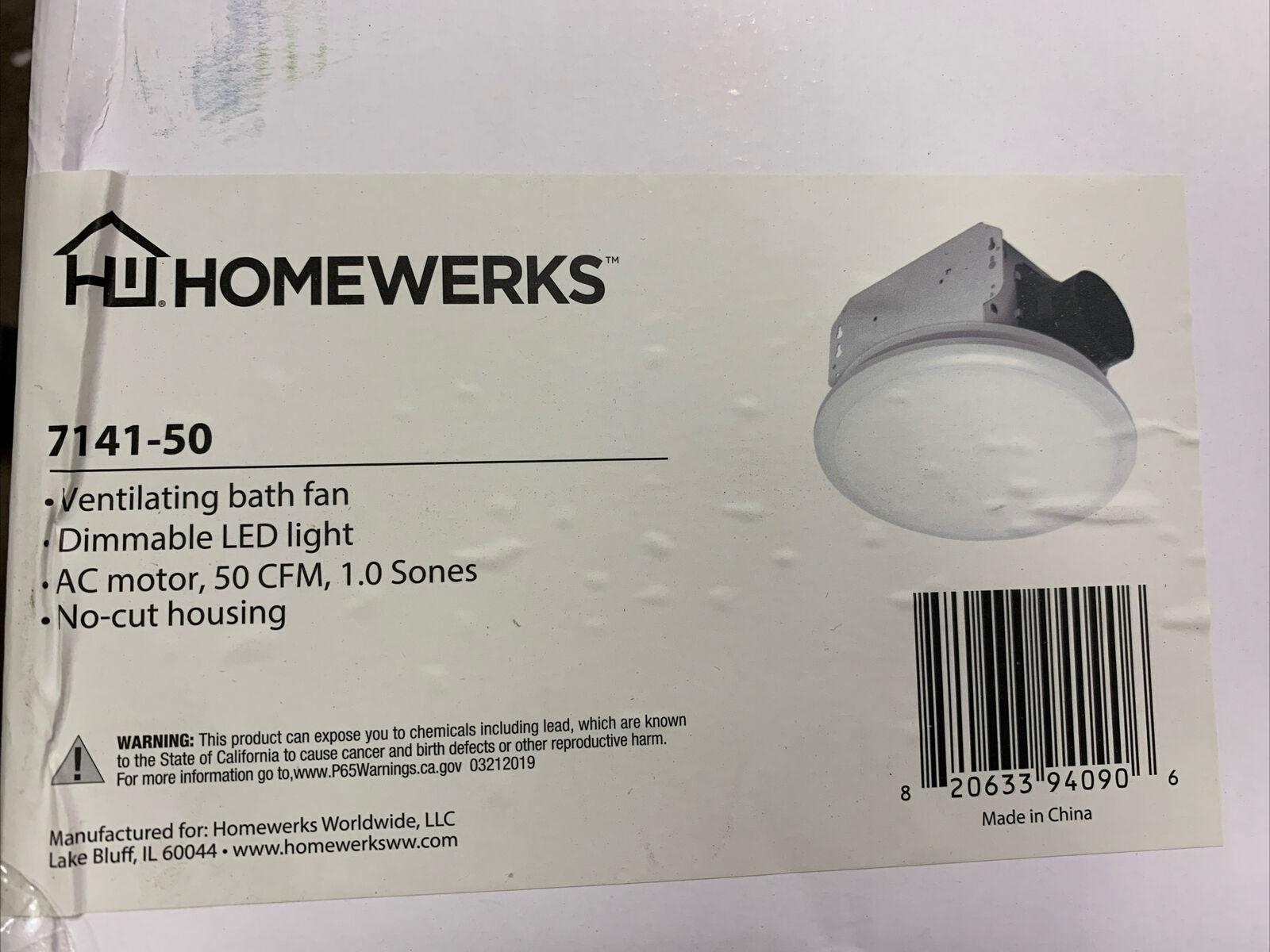 Homewerks Worldwide 50 CFM Ceiling No Cut Installation Bathroom Exhaust Fan with